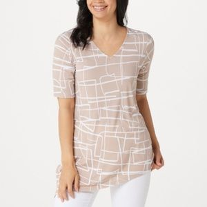 Susan Graver Printed Liquid Knit Asymmetrical Top